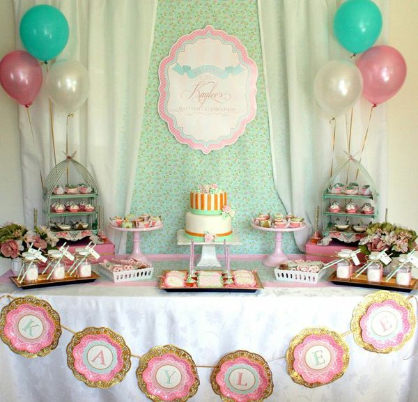 Shabby Chic Baptism Baby Party Theme Pink Turquoise Gold Girl
