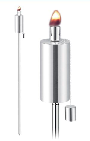 Set the mood with the Contemporary Anywhere Stainless Steel Set of Two Outdoor Garden Tiki Torches. AT 65