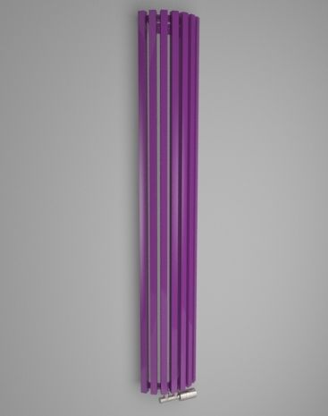 Designer corner radiator. Practical radiator suitable into modern and classic interiors. Available in 216 RAL colours. Highlighted in textures. Spatial solutions for your home. Central heating radiator with middle connection. Delivery: 4 weeks http://www.hothotexclusive.com/en/eshop/radiators-in-signal-violet-colour-ral-4008/ruby-round-hrur/?proportion_type=1&proportion=937&color=54&heating=1