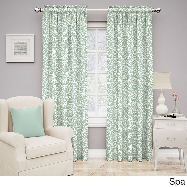 Traditions by Waverly Duncan Damask Curtain Panel (84 in. L - Spa), Green, Size 84 Inches
