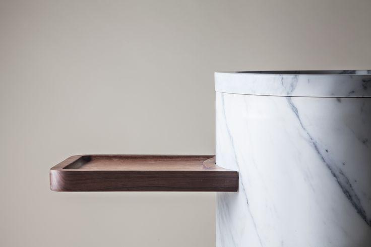 """Lavabo Da Terra"" Freestanding White Marble Sink. Walnut Wood Stand, Arabescato Cervaiole Marble Base. Exclusive Luce Di Carrara Dealer: http://ollinstone.com/luce-di-carrara-designs/"