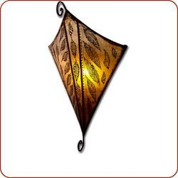 Henna wall sconce. Made of goatskin with wrought iron frame.   	 		Measures 15