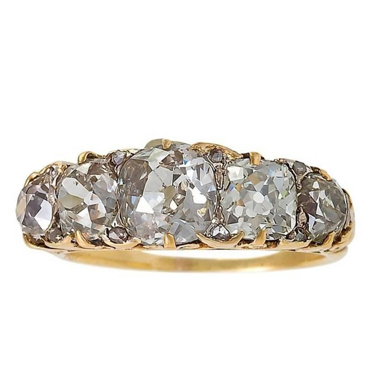 French Antique Five Stone Diamond Ring 1