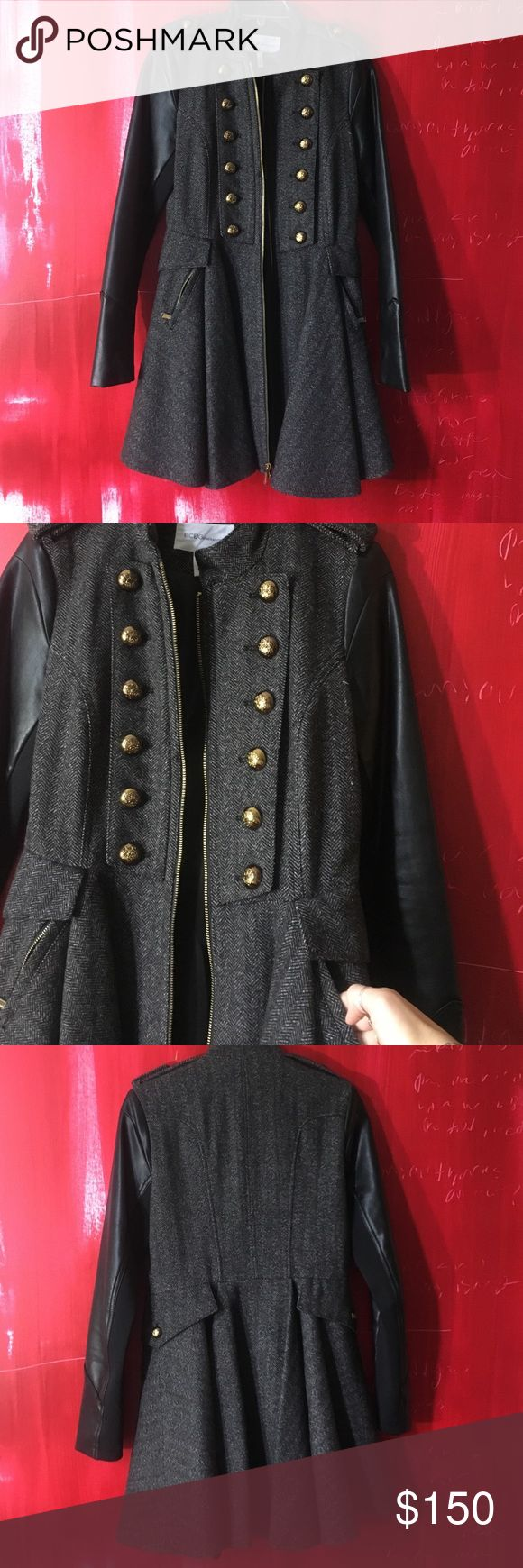 BCBGeneration coat Military style coat. Dress like hem flares out fits really well at top. Faux leather sleeves and tweed fabric. Size small. NO TRADES! Love this coat just want to see if anyone wants to buy! BCBGeneration Jackets & Coats Utility Jackets