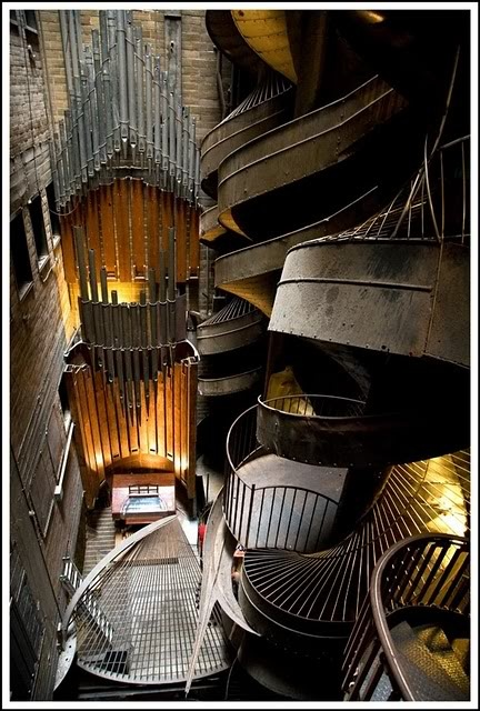 City Museum St. Louis.... 10 story slide beside a huge pipe organ--- the entire museum apparently has lots of tunnels, caves, etc-- a playground for all ages--- this place looks amazing!
