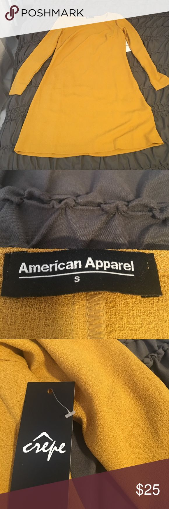 American Apparel crepe A line Dress Cute Fall Dress! Ordered online last fall and was too small for me. Would look great with tights and clogs, or knee high boots. American Apparel Dresses Long Sleeve