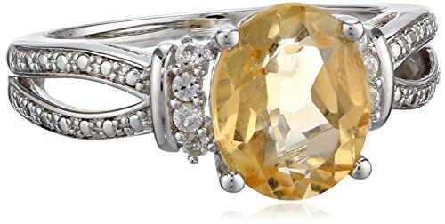 Sterling Silver Citrine and Created White Sapphire Ring Size 7 *** You can get more details by clicking on the image.