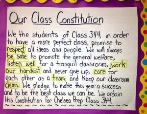 Image of a hand-written class constitution