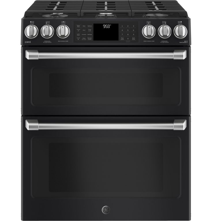 "GE Café™ Series 30"" Slide-In Front Control Gas Double Oven with Convection Range 