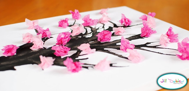 tutorial: cherry blossom branch picture. Great craft activity at a kokeshi party