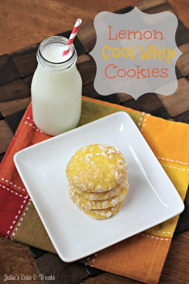 Lemon Cool Whip Cookies via @julieseats