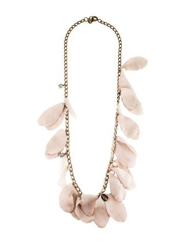 Bronze Lanvin chain link necklace featuring woven taupe silk petals, faux pearls, and crystal embellishments with spring ring closure.