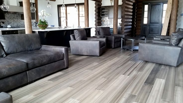 Great contemporary rustic design at this resort home at Rock Creek Cattle Company in Montana. This was a custom Douglas Fir floor we produced with a sanded non-textured face and our Stonewash finish.