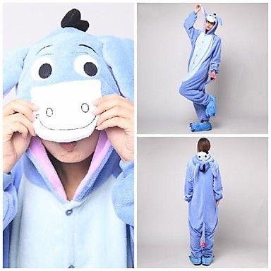 Cute Blue Donkey Adult Coral Fleece Kigurumi Pajamas Animal Sleepwear
