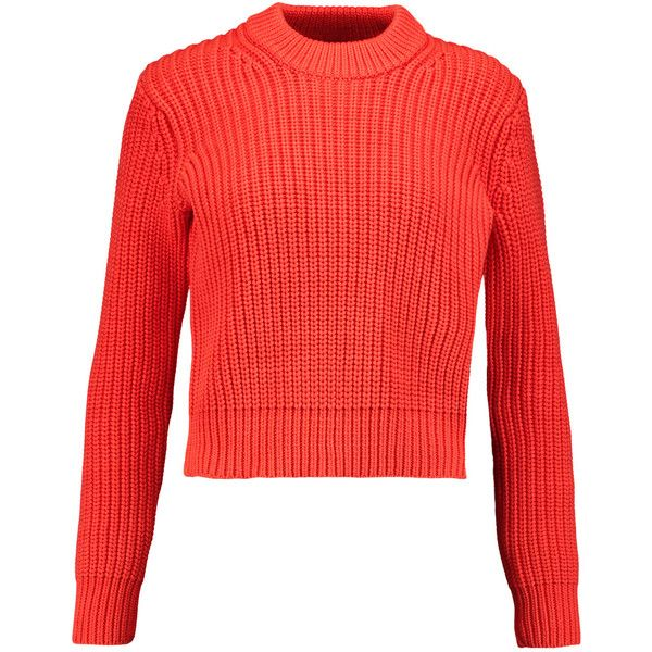 T by Alexander Wang Ribbed-knit cotton-blend sweater (2 150 ZAR) ❤ liked on Polyvore featuring tops, sweaters, bright orange, chunky knit sweater, orange sweater, red sweater, thick knit sweater and red top