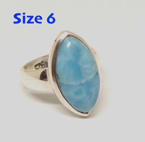 Larimar Ring 925 Sterling Silver   US Size 6   Dominican Republic Caribbean   Leo Stone   Pectolite   Crystal Heart Melbourne Australia since 1986