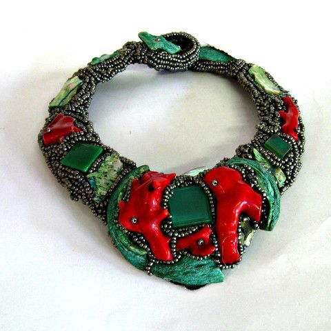 Collar - red coral and turquoise shells
