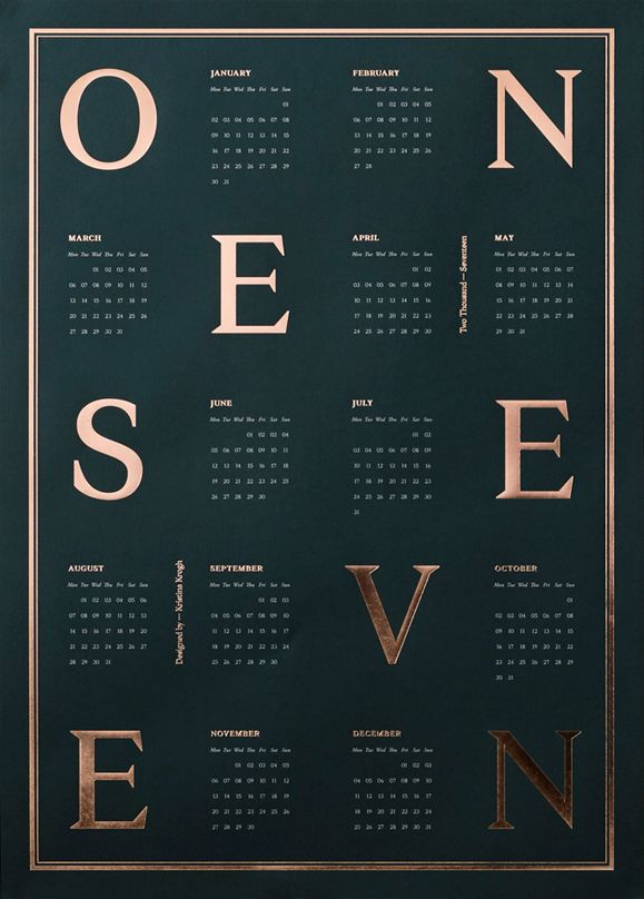 Calendar 2017, Dark Green and Copper by Kristina Krogh   Poster from theposterclub.com