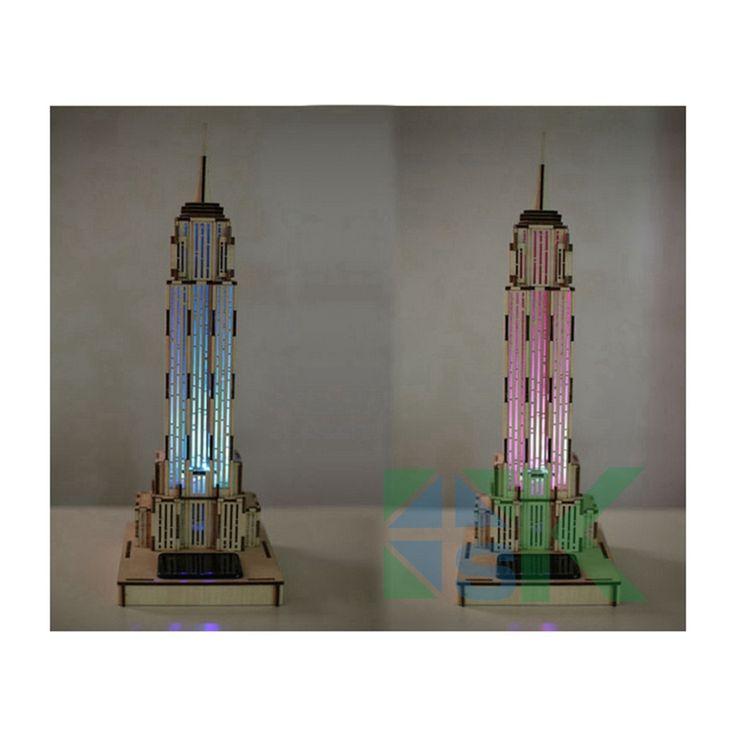 Обучающие Игрушки LED DIY 3D Головоломки Эмпайр Стейт Билдинг DIY Цветной Рисунок Автоматический Солнечный Свет Ощущение Украшения