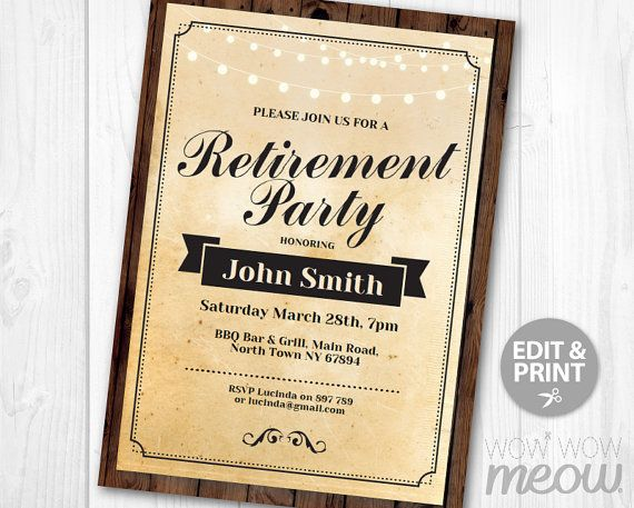 Retirement Party Invitation Retired Invite INSTANT DOWNLOAD Printable  Editable Personalize Male Womens Mens Retiring From Work Announcement