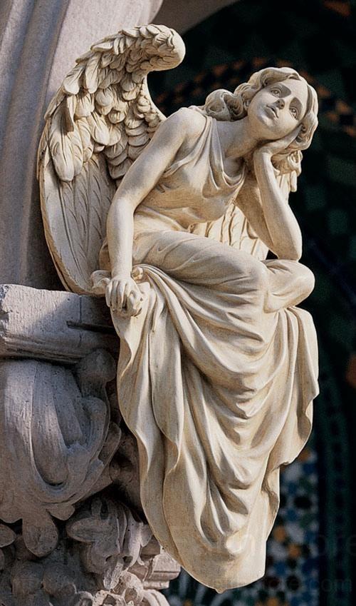 """Seated Angel Statue Angel Statue, Angel Statues from Catholic Faith Store (18.5"""" H, Stone)"""