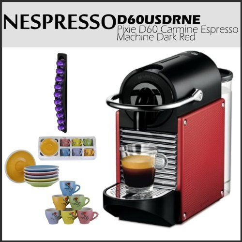Nespresso D60 Pixie Dark Red Carmine Espresso Machine Bundle Includes a Swissmar 10 Capstore Wave for Nespresso Capules and a Set Of 6 Espresso Cups & Saucers Tri Color by Nespresso. $229.00. Removable 24 oz. water tank. Makes over 20 shots between refills - Patented technology. High-pressure pump (19 bars) ensures best flavor. Eye-catching design; compact size is great for small spaces. Coffee-capsule sampler pack included. This Set Includes:  1) Nespresso D60 Pixie C...