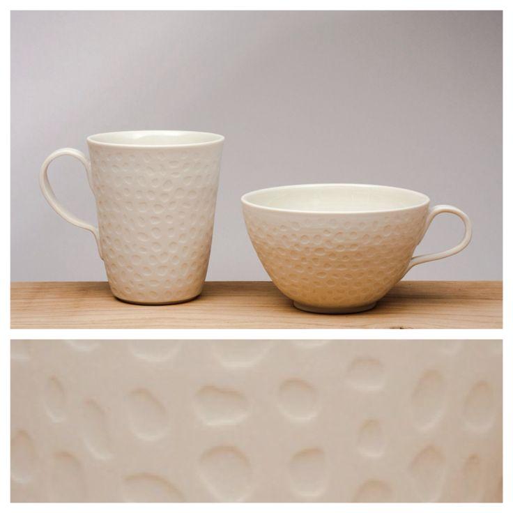 Unique handmade porcelain mugs for your coffee or tea.