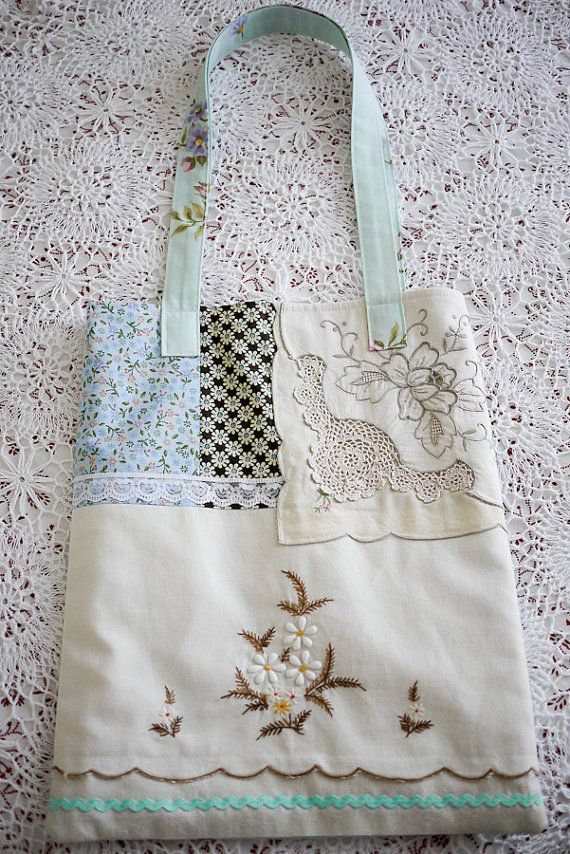 Vintage Cotton and Lace Rose Tote  Shabby Chic.  Pretty as a picture, this tote is made from vintage linens and cottons, calico, retro sheeting and new lace. French Market styling in soft colours to decorate your arm...