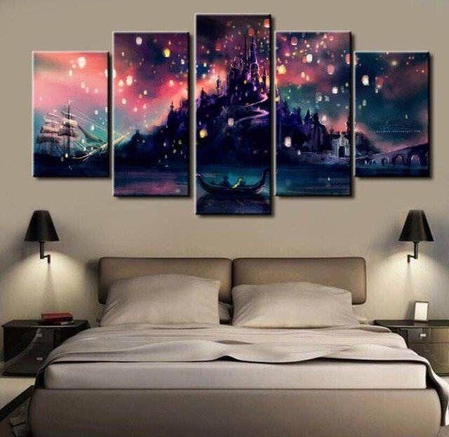 Tangled Lantern Scene, Canvas Wall Art Framed 5 Panel by CanvartCo on Etsy https://www.etsy.com/listing/503899578/tangled-lantern-scene-canvas-wall-art