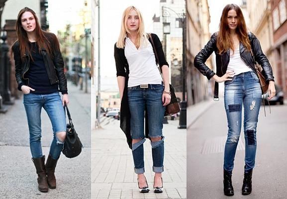 Закатанные джинсы у девушек