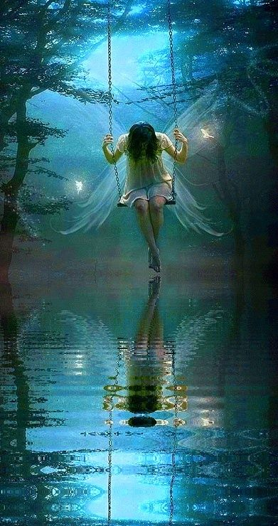 Fairy and swing...#faerie #enchantment #magic #art#fantasy: