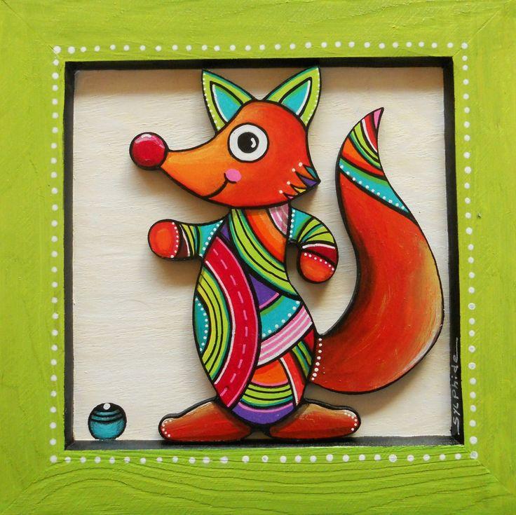 Tableau en bois peint d'oscar le petit renard : Décoration pour enfants par sylphide