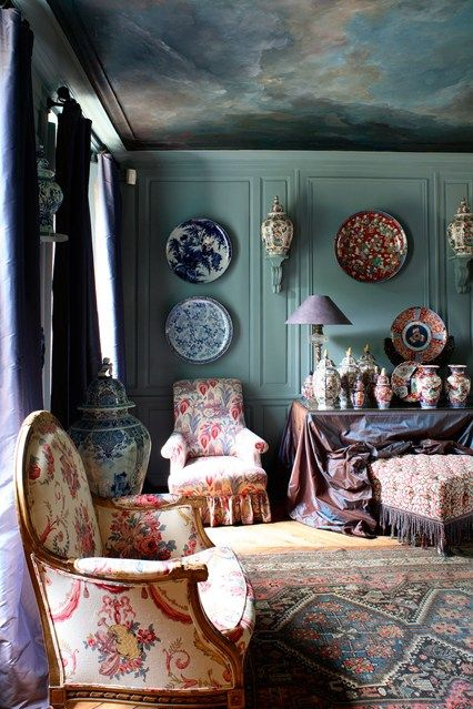 Discover wall mural design ideas on HOUSE - design, food and travel by House & Garden. A moody, blue-grey sky gives a sense of theatre to this room in France