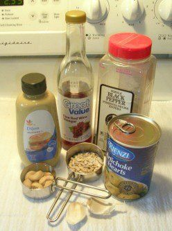 The simple ingredients for Sally's oil-free salad dressing.