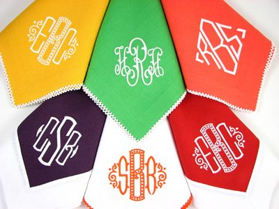 cloth napkins with monogram. love.