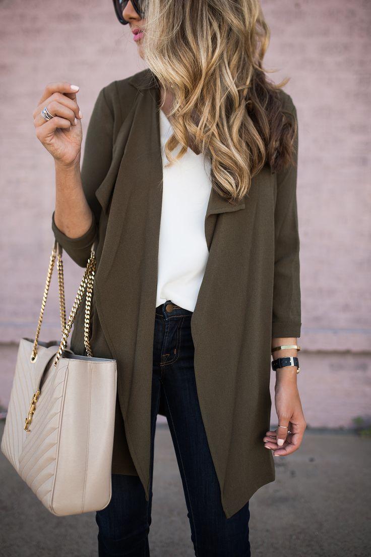 Olive Drape Front Jacket | The Teacher Diva