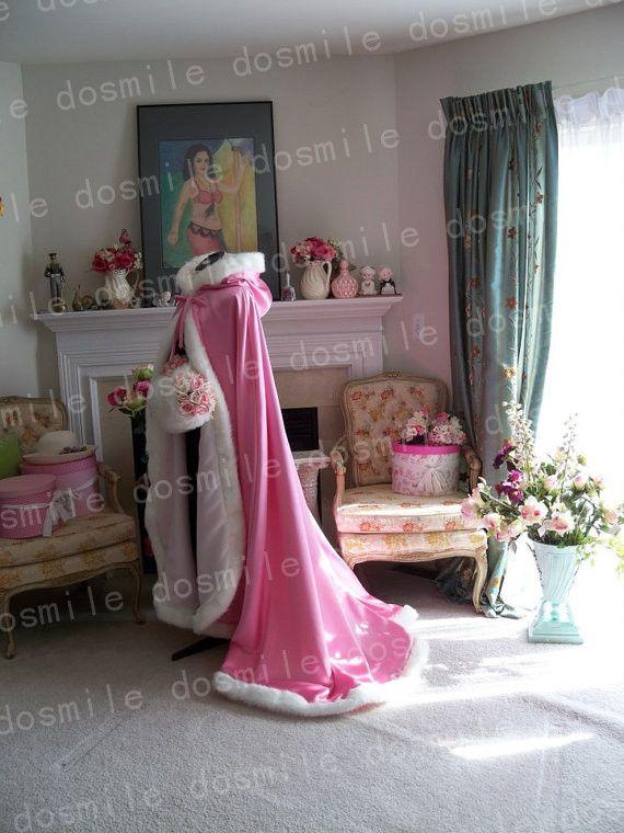 Настроить свадебные полушубок розовый с капюшоном с искусственной меховой отделкой для невесты зимний свадебное плащ накидка