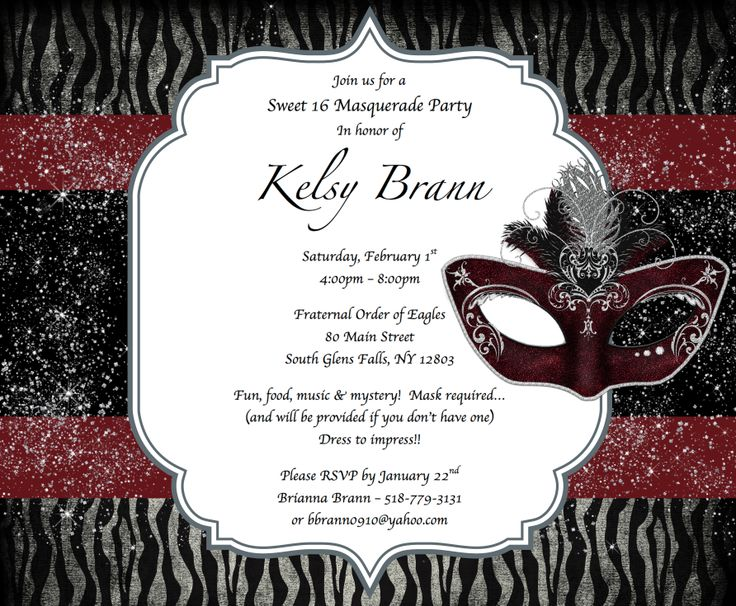 76 best Masquerade party invitations images on Pinterest