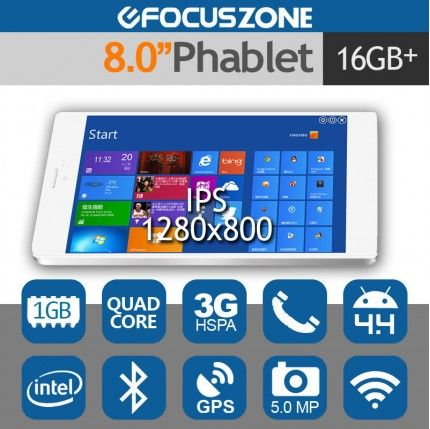 """VX8 3G 8.0"""" Tablet Phone Android 4.4 Intel Quad Core 5MP 1G/16G"""