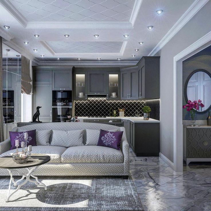 Наш проект небольшой квартиры. Совмещённая кухня-гостиная. В скромном пространстве удалось разместить всю необходимую технику: духовой шкаф, микроволновку, посудомоечную машину. За диваном раскладной стол и консоль с ящичками для приборов, а сам диван готов принять на ночь задержавшихся гостей. #маленькиеквартиры #mamaevalexeeva #interiordesign  #design  #decoration  #дизайнинтерьера #дизайн #декор