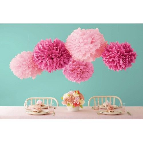 Pink Pom Poms - Set of 5 by Martha Stewart