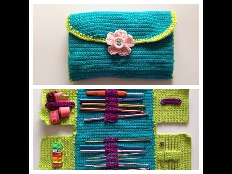 DIY Learn How to Crochet Hook Case Holder Folder Wallet - Pouch Storage for Hooks - YouTube