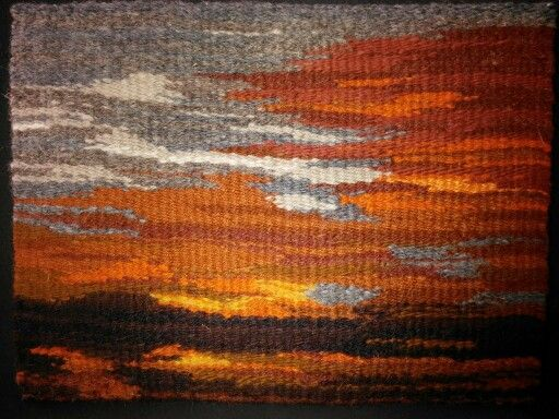 Sunset at Bosque del Apache, New Mexico. 9 x 12 inches. Just off the loom, based on a photo I took at that location. By Mary Severine.