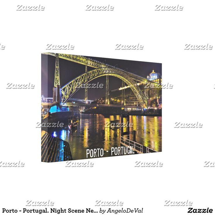 Porto - Portugal. Night Scene Near Douro River Canvas Print