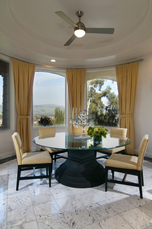 Bay Window Drapes And Round Dining Room Table
