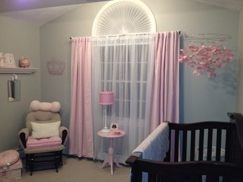 "love that all the pink is removable. light gray walls , pink and white accents. the room ""grows up"" good"
