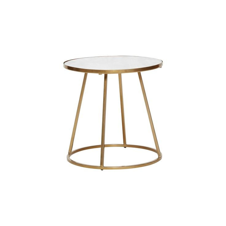Table w/gold frame, metal/marble, white/gold. Product number: 670321 - Designed by Hübsch.