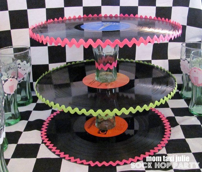 Attractive Sock Hop   Use Old Records To Create A Tiered Food Stand