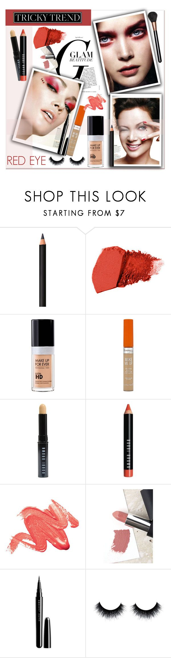 """""""TrickyTrend: Red Eye Makeup"""" by sweta-gupta ❤ liked on Polyvore featuring beauty, INIKA, Jane Iredale, MAKE UP FOR EVER, Rimmel, Bobbi Brown Cosmetics, Sigma, Marc Jacobs, MAC Cosmetics and eyemakeup"""