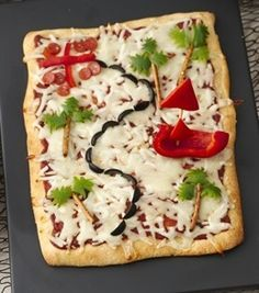 Pirate Party Treasure Map Pizza #2013JuneDairyMonth  #CelebrateDairy